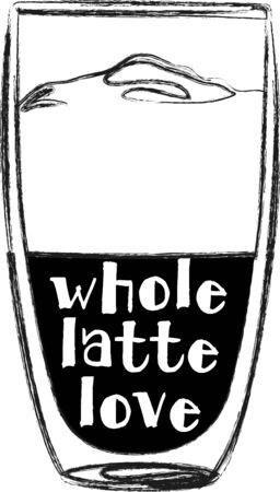 Use this latte for a barista's shirt or apron. 向量圖像