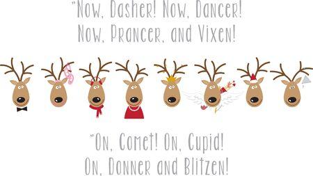 산타의 순록을 사용하여 축제 용 스웨터 또는 아이 드레스를 입으십시오.