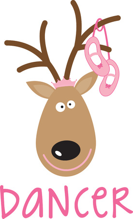 Use this Santas reindeer for a festive sweater or childs dress. Ilustracja