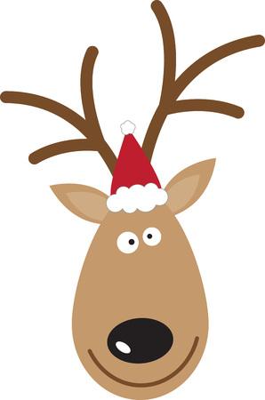 이 산타의 순록을 사용하여 축제 용 스웨터 또는 아이 드레스를 입으십시오. 일러스트