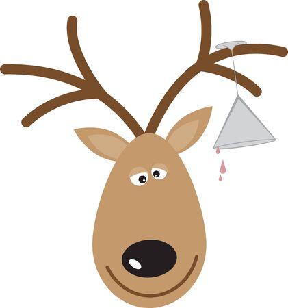 Gebruik het rendier van deze kerstman voor een feestelijke trui of kinderjurk. Stock Illustratie