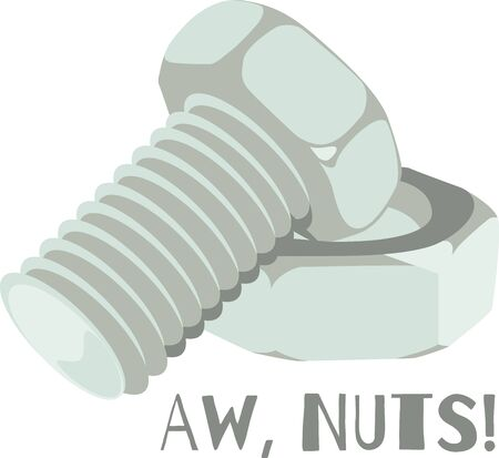 This nut and bolt will make a great illustration for a construction company shirt. Stock Illustratie