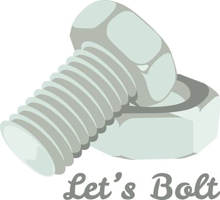bolt: This nut and bolt will make a great illustration for a construction company shirt. Illustration
