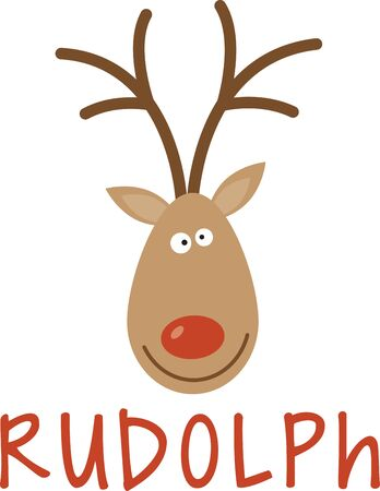 rudolph the red nosed reindeer: Use this Santas reindeer for a festive sweater or childs dress. Illustration