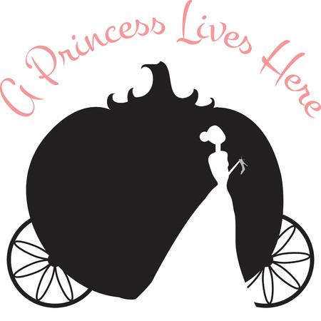 Verwenden Cinderellas Kutsche auf einem Hemd für eine kleine Prinzessin. Standard-Bild - 42925164