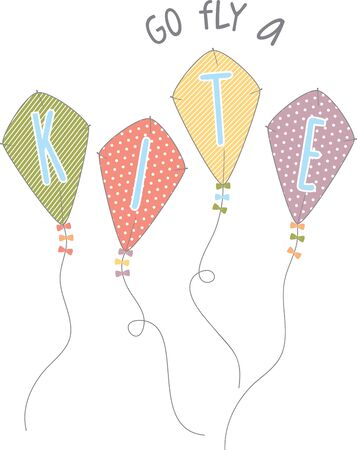 Use these kites on a childs summer shirt. Ilustração