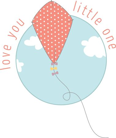 Use this kite in the sky on a child's summer shirt.