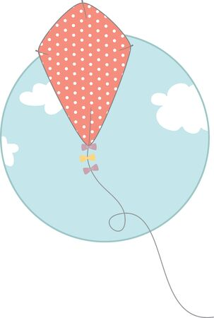 Use this kite in the sky on a childs summer shirt. Ilustração