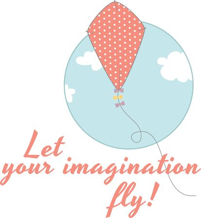 Use this kite in the sky on a childs summer shirt Ilustração