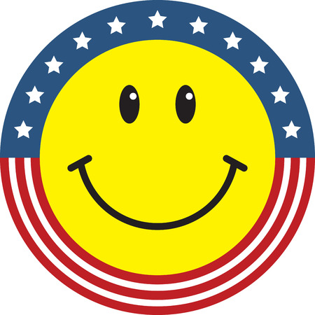 patriotic america: Show your patriotism with an American smiley face on your shirt or hat. Illustration