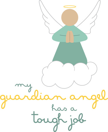 Use this guardian angel on a friends shirt. 向量圖像