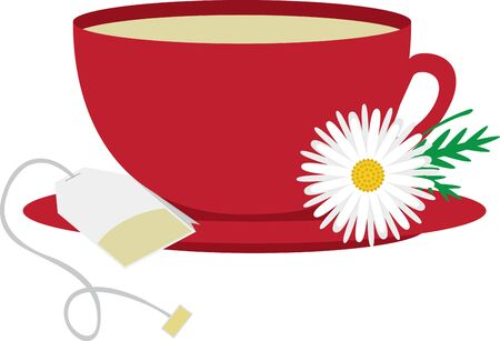 Enjoy your tea with this perfect tea cup design by Embroidery patterns! Ilustrace