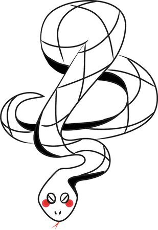 coiled snake: Chinese coiled snake symbolizes mythological aspects. This would look great on a hat. Illustration