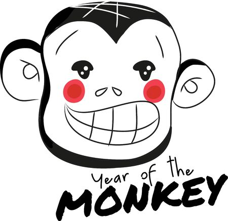 critter: Monkey head is Chinese zodiac sign. Show everyone your sign by adding this design to a hat.