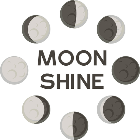Moon has its different phases orbiting our planet Earth. Add this design to a shirt while teaching about the planets