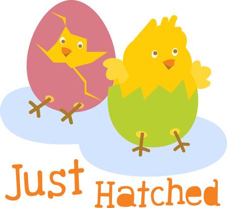 Chicks sind gerade ausgebrütet, Sie möchten eine sehr glückliche Ostern. Sehen Sie den Beginn eines neuen Lebens mit diesem Entwurf durch Stickmuster! Standard-Bild - 42927665
