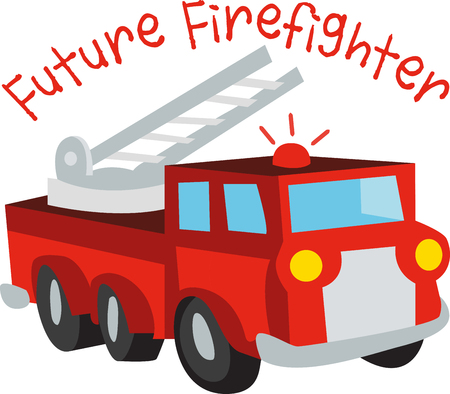 emergency engine: pick this colorful fire truck design by embroidery patterns. Perfect on a shirt for a child.