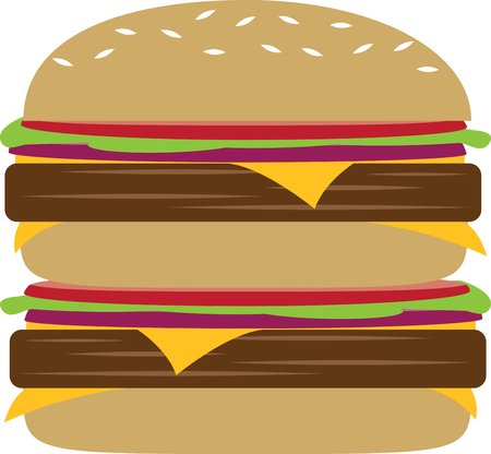 lucy: Jazz up a cheesy, juicy Lucy burger with this design by Embroidery patterns. Illustration