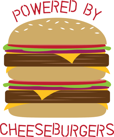 Jazz up a cheesy, juicy Lucy burger with this design by Embroidery patterns. Illustration
