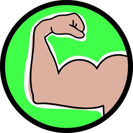 flexing muscles: Illustrations of a masculine arm
