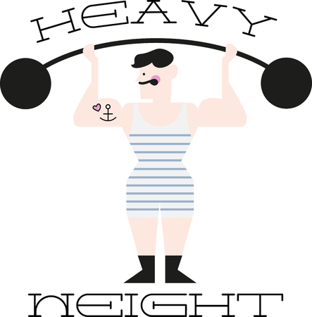 Illustrations of a masculine man lifting weight Ilustrace