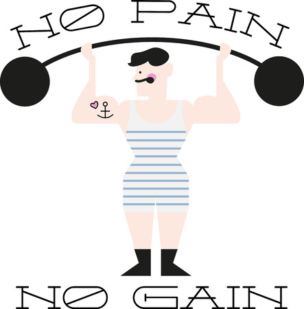 anchor man: Illustrations of a masculine man lifting weight Illustration