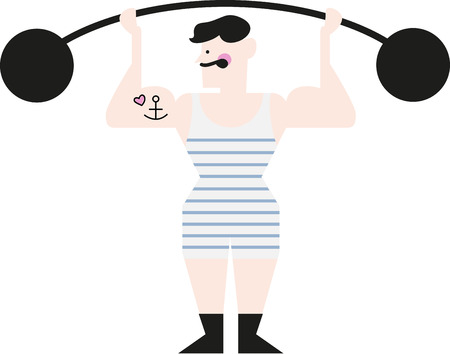 Illustrations of a masculine man lifting weight Illusztráció