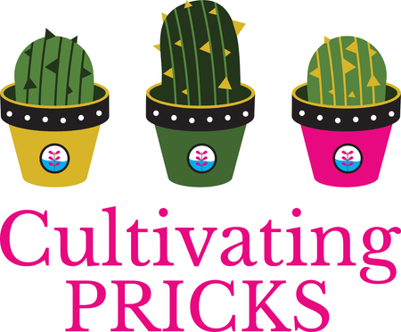 Illustrations of a cactus in pot