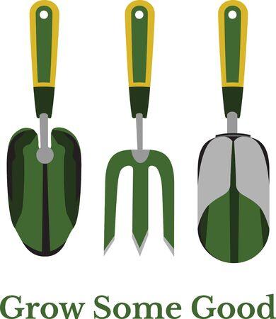 raking: Gardening tools Illustration