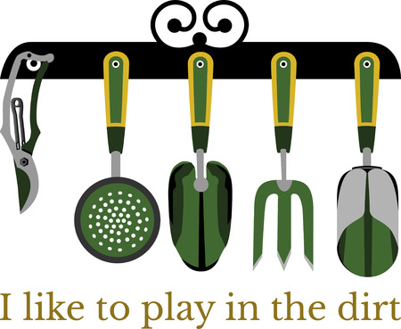 raking: Spark your imagination!  This whimsical design will be perfect on gardening aprons, t-shirts and more.