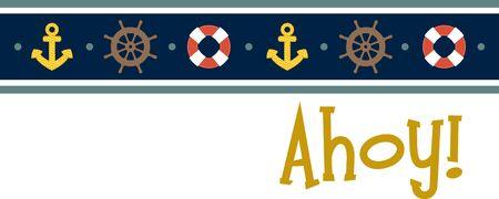 mooring: Illustrations of a sailor design in strap