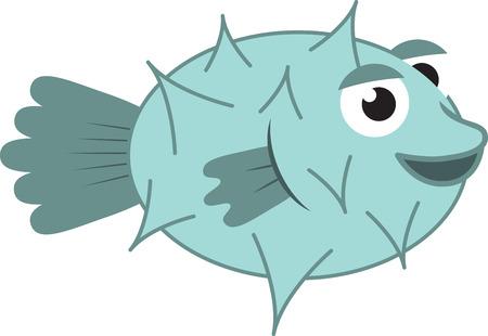 pez globo: Un animal adorable es una magn�fica decoraci�n para el proyecto de un ni�o. Vectores