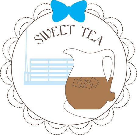 Illustrations of a Sweet iced tea in a jar