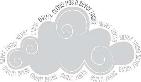 Illustrations of a Grey Clouds with words