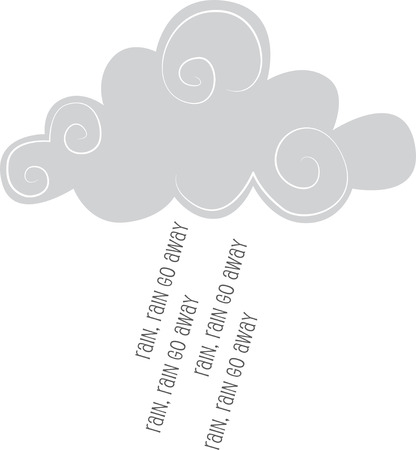 Illustrations of a Grey Clouds with raining words Ilustracja