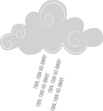 Ilustraciones de un Las nubes grises con palabras que llueven Foto de archivo - 42874212