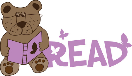 Illustrations of a bear reading a story book