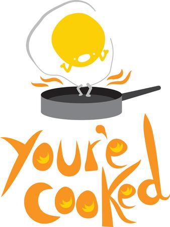フライパンに卵します。  イラスト・ベクター素材