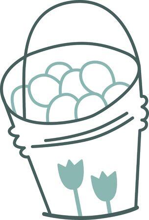 bucket: Bucket of eggs Illustration