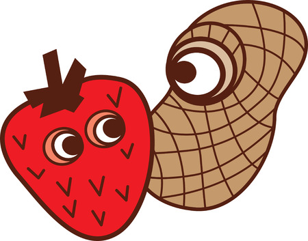 Cartoon strawberry and peanut Stok Fotoğraf - 42879764