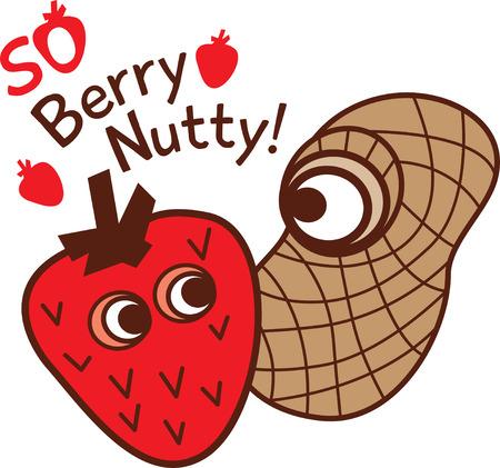 nutty: Cartoon strawberry and peanut