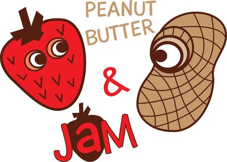 Cartoon strawberry and peanut