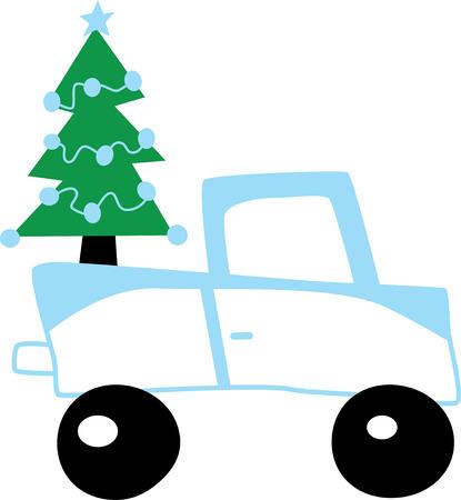 Christmas tree on a lorry Ilustrace