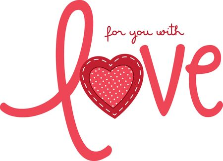 Love with heart for Valentine