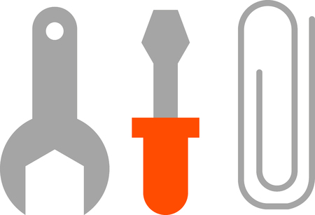 Tools of spanner, screwdriver and paper clip
