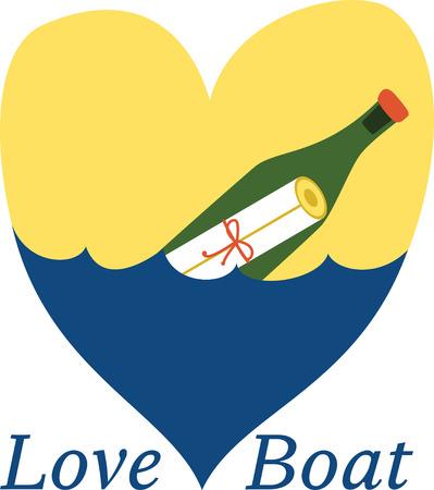 liefdesbrief in de fles wijn op het water Stock Illustratie