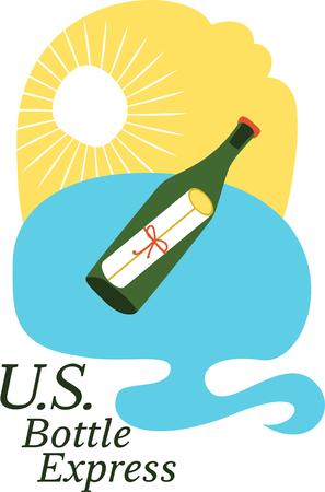 Ontwerp met liefdesbrief in wijnfles Stock Illustratie