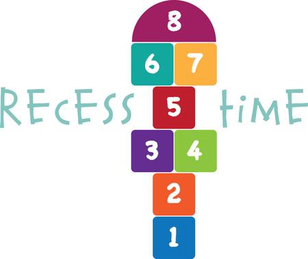 Design with hopscotch. Kids will love this design on a t-shirt. Иллюстрация