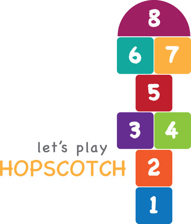 Design with hopscotch. Kids will love this design on a t-shirt. Illustration