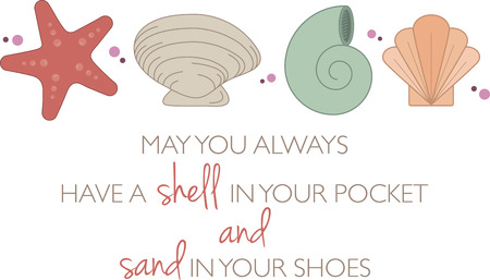 Text with colourful sea shells, perfect for beach project. 向量圖像